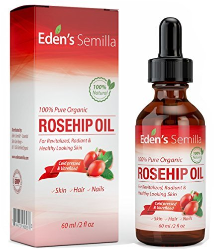 100% Pure Rosehip Oil - 60ml - Certified ORGANIC - Revitalises Skin & Hair - Clinically Proven - Natural / Cold pressed & unrefined - NON Greasy HIGH absorbency - Use daily - Anti ageing, nourishes, hydrates and visibly reduces fine lines, scars, stretch marks and skin pigmentations - Suitable for all skin types - Eden's Semilla Essential Skin Care
