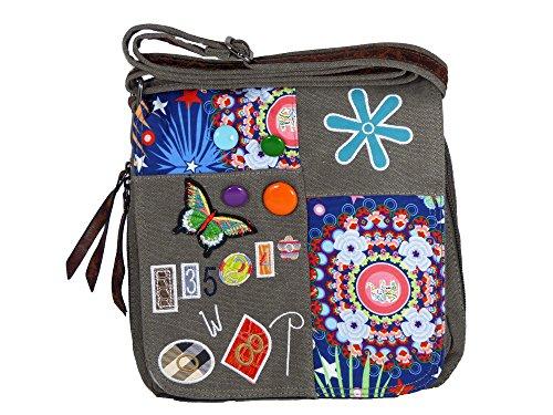 Umhängetasche Canvas Style mit aufgenähten Patches, Buttons und floralem Muster - Maße 28 x 29 cm - Damen Mädchen Teenager Tasche Grau