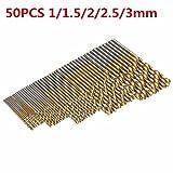 Mohoo 50PCS 1/1.5/2/2.5/3mm HSS Shank Drill Bit Set Tools Titanium For Wood Plastic and Aluminum Copper Steel