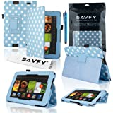 "SAVFY All - New Amazon KINDLE FIRE HD 2013 VERSION (7-Inch) 7"" Tablet Stylish SKY BLUE Polka Dot PU Leather Case Cover Book Multi-Function Flip Stand Pouch with Auto Wake and Sleep Function, with Stylus Loop Holder Design, includes FREE Bonus Gift: Screen Protector and Touch Stylus Pen (Only for 2013 Amazon Kindle Fire HD 7"" )"