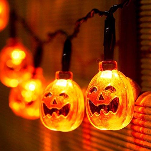 oween LED licht 7.2ft / 2,2 Meter orange 3D Kürbis 20 LED-Schnur-Licht-Batterie , fabelhafte Lichte für Heimwerker Halloween-Dekoration M-LD067 (Halloween-kürbis-lichter Led)