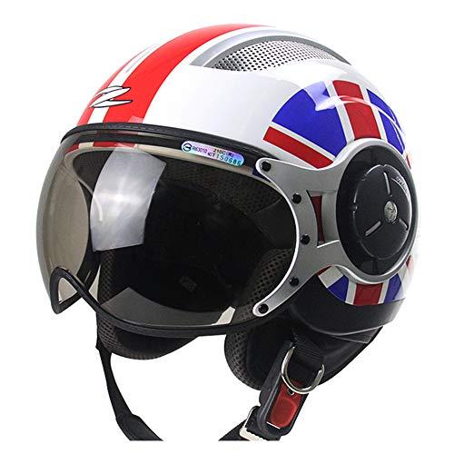 FLYFEI Casco Vintage Moto HarleyD.O.T ApprovatoCasco Mezza Traspirante EstivoCasco Open FaceJet Pilot Helmetper I Bambini Adulti Fuoristrada del Ciclomotore di Skateboard,L(57~58cm)