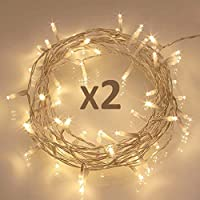 Koopower 40 LED Fairy String Lights, Battery Operated w/ Timer Function for Christmas Xmas, IP65 Waterproof - Warm White Pack of 2