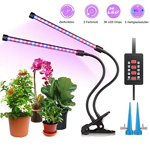 ALIENGT Pflanzenlampe LED mit Timer, Automatische EIN-/ Ausschaltfunktion, 3 Farbmodi, 5...