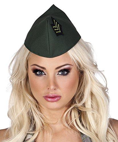 Adults Green Army Side Cap Hat Fancy Dress Accessory
