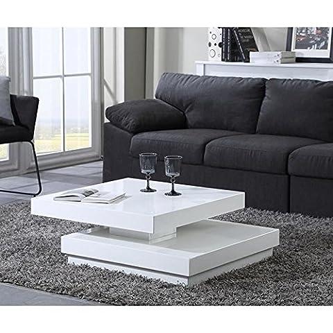 VEGAS Table basse carrée pivotante L75 cm blanc