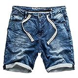 Sublevel Uomo Jeans da Jogging Pantaloncini Corti Bermuda Denim Sweatpants Cargo Jeans da Jogging Vintage Pantaloni Combat Used Look - Blu Scuro Denim 28, 31W