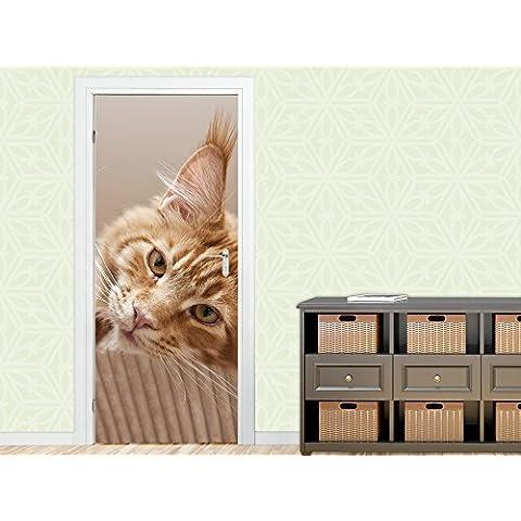 Adhesivo de papel de aluminio para puerta de imagen de la puerta para decoración de la sala de estar de gato de peluche gato con botas de agua dulce, 92 x 205 cm