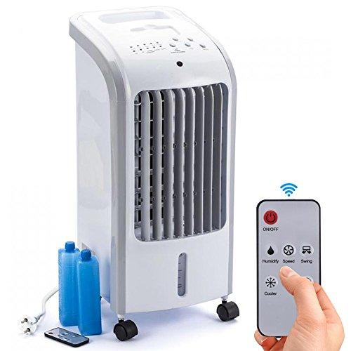 Bakaji Rinfrescatore Raffrescatore d'aria Compatto Air Cooler 80 W Ventilatore Refrigeratore Aria Portatile 2 in 1 con funzione Timer, 3 Velocità