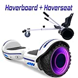 COLORWAY Hoverboard 6,5' 700W con Ruedas de Flash LED, Altavoz Bluetooth y LED, Autoequilibrio de Scooter Eléctrico (Blanco-Kart Blanco)