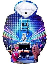 OLIPHEE Niños Sudaderas con Capucha Impresas en 3D para Música Pop para fanáticos de DJ