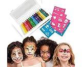 Crayons Maquillage pour Enfants Visage Peinture Crayons de visage avec 16 couleurs Maquillage de Pâques Halloween fête d'anniversaire jeu de Déguisement Noël spectacle