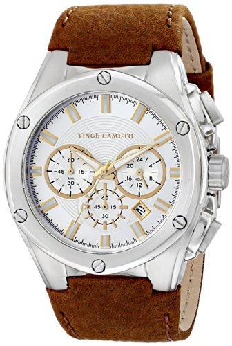 Vince Camuto VC/1064SVBN - Reloj de cuarzo para hombre, con correa de cuero, color marrón