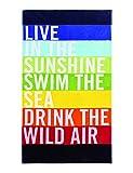 Strandtuch Live, ca. 100 x 180 cm Velours Badelaken, Gestreiftes Liegetuch in Regenbogenfarben, Strandlaken mit Schriftzug