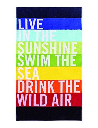 Strandtuch Live, ca. 100 x 180 cm Velours Badelaken, Gestreiftes Liegetuch in Regenbogenfarben, Strandlaken mit Schriftzug (Gestreiften Badelaken)