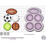 Molde con forma de pelotas de deporte, golf, tenis, rugby, fútbol y