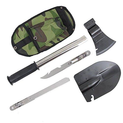 Galleria fotografica Pala militare militare,Pala pieghevole,Outdoor Camping Pala portatile,Kit di strumenti per la sopravvivenza in caso di emergenza multifunzionale 4 in 1