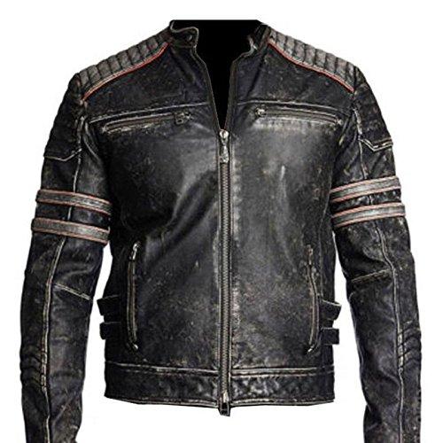 Beste Jacke Cafe Racer Retro 1 Schwarz Motorrad Distressed Echtes Leder Jacke