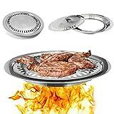 LaDicha Rostfreier Stahlgrill Pfanne Grill Herdplatte Kochen BBQ Eisen Rauchfreien Non-Stick