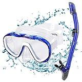 Kuyou Premium 2019 Schnorchelset Erwachsene Taucherbrille mit Schnorchel Tauchset gehärtete Anti-Beschlag Gläser Taucherbrille wasserdichte Tauchmaske und trockenem Schnorchel Set (Blau)