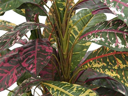 artplants Set 2 x künstlicher Kroton Aram mit 4 Stämmen, auf Steckstab, 180 cm – Kunst Pflanze/Deko Croton Baum