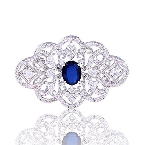 Hanie Damen Brosche Silber Blume Anstecknadel mit Saphir Blau Oval Zirkonia und Weiß Rund Zirkonia Passt Pullover Mantel Anzug Abendkleider Mutti zum Muttertag