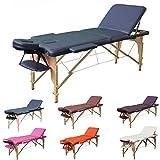 H-ROOT 3 Zonen Massagetisch Leichtes tragbares Couch Bett Sockel Therapie Tatoo Salon Reiki Healing Schwedische Massage 13.5KG (Marine)