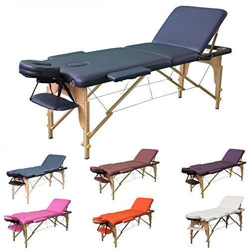 H-ROOT 3 Zonen Massagetisch Leichtes tragbares Couch Bett Sockel Therapie Tatoo Salon Reiki Healing Schwedische Massage 13.5KG (Marine) Test