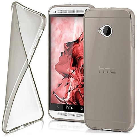 HTC One M7 Hülle Silikon Transparent Grau [OneFlow Clear Back-Cover] TPU Schutzhülle Dünn Handyhülle für HTC One M7 Case Ultra-Slim Silikonhülle