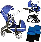 iSafe Tandem Pram me&you - 2 Tone Navy (Navy) + X 2 Foot Muff (Baby Product)