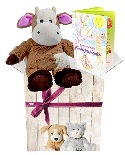 Warmies regalo-Set peluche mini Farm gamma Mucca Peluche con profumo di lavanda e elegante confezione regalo + libretto con emozionanti Bambini hichten