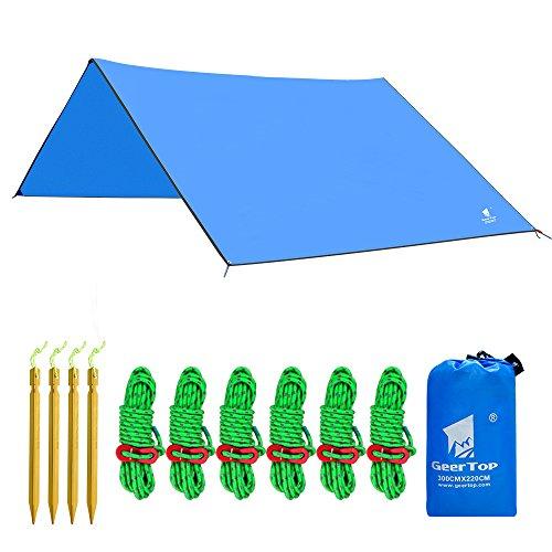GEERTOP Zeltplane Sonnensegel Tarp Leichtgewichtige Wasserdicht - 300 x 220 cm - mit Zeltheringen und reflektierend Abspannseile und Tasche für Camping Wandern Bergsteigen (Blau)