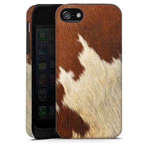 Apple iPhone 6s Plus Tasche Hülle Flip Case Kuhfell Look Tiere Braun Weiß Tough Case matt