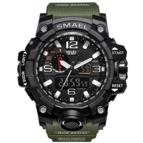 Amstt Herren Digital Analog Sportuhr Wasserdicht Armbanduhr LED Digital Uhr mit Stoppuhr für Männer (Armee-Grün)