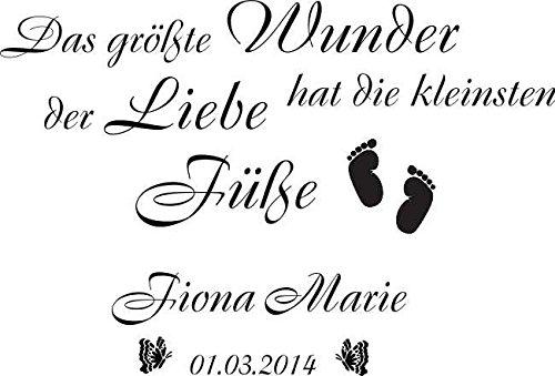 Preisvergleich Produktbild WANDTATTOO Aufkleber Spruch Das größte Wunder...+ Name Kinderzimmer Baby W112