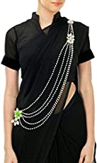 JN HANDICRAFT Multilayer Copper Waist Belt/Belly Chain and Saree Pin with Rose for Women (Green, Off-White)