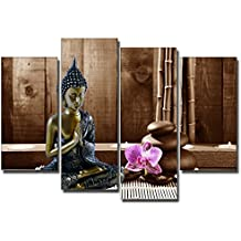 DekoArte - Cuadro Buda, en tonos marrones y orquidea violeta, 4 piezas, 120x90cm