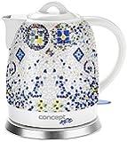 CONCEPT RK-0020 Keramik Wasserkocher 1,5 Liter, weiss mit Muster, Asia DESIGN, 1350W