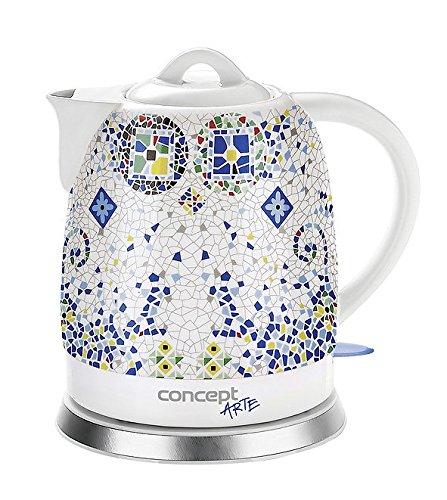 CONCEPT Hausgeräte RK0020 Keramik Wasserkocher, Einzigartiges Design, Hauch von Orient, 1,5 L, Weiß, 1350 W Retro Keramik