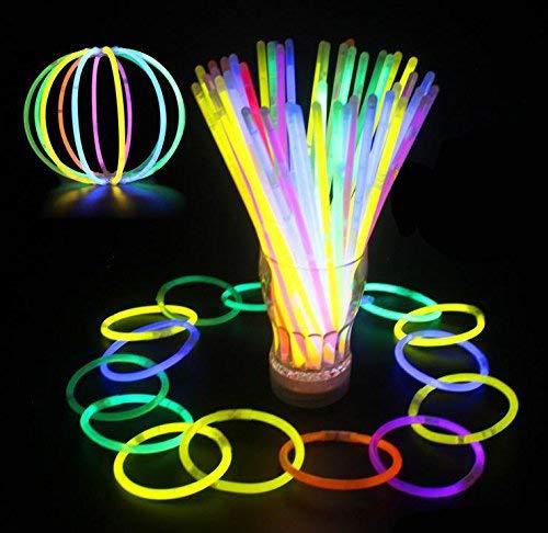 Glowz Glow Sticks Glow In The Dark Premium-Armbänder (Mischfarben) 100 Pack - Neon Zubehör für Mädchen oder Jungen