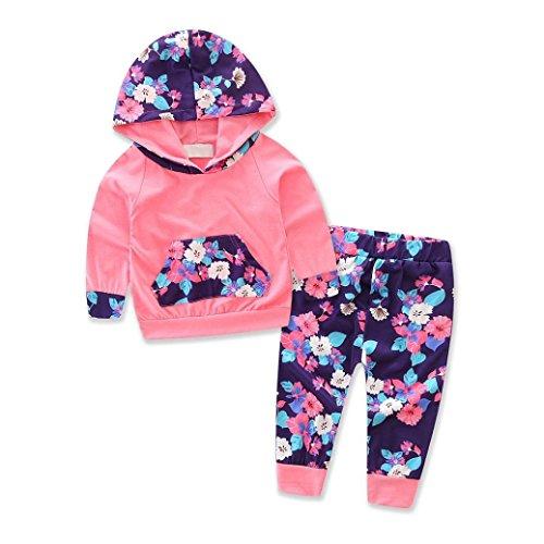 (Kinderbekleidung,Honestyi Kleinkind Säugling Baby Mädchen Blumen Spleißen Kapuzenpullover Tops + Hosen Outfits Bekleidungssets Streetwear Sweatshirts Blusen (12M /80CM, Rosa))