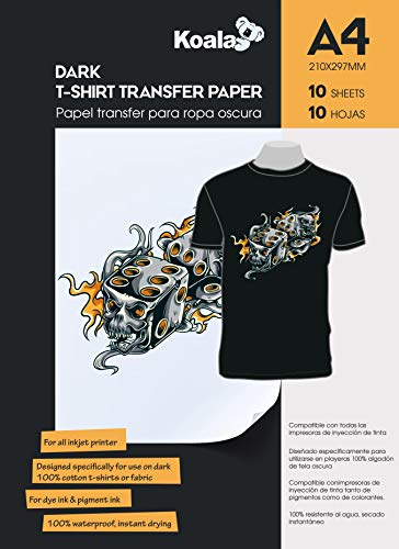 KOALA Inkjet Iron on T-Shirt Transfer Paper for Dark Fabrics x 10 Sheets, A4