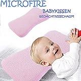Hochwertiges Baby Kopfkissen Kissen für Neugeborene gegen Plattkopf und Verformung Rosa