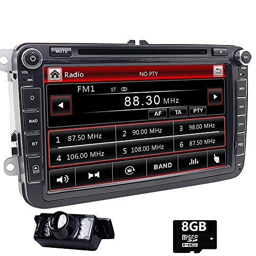 Doppel DIN GPS Auto-Stereo 20,3 cm Touchscreen DVD Player inDash Navigation USB/SD FM AM RDS Autoradio BT Haupteinheit für VW Golf 5 6 Polo Jetta Touran Eos Passat CC Tiguan Sharan Scirocco Caddy (Dvd-player In Dash)