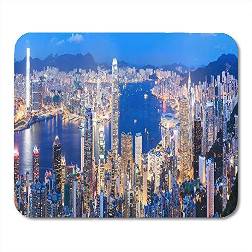 Mauspads Buntes Architektur-Panorama von Hong Kong Skyline nachts Mausunterlage für Notizbücher, Tischrechnermatten Büroartikel