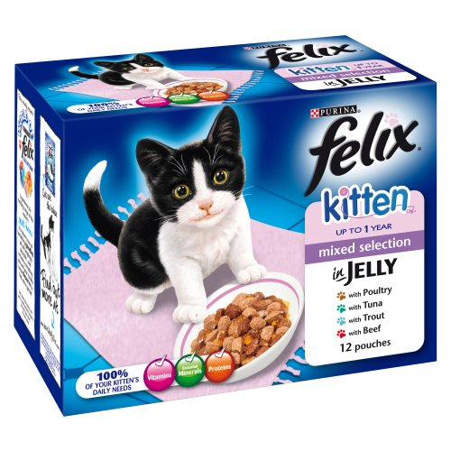 Felix Kitten Mixed Selection in Jelly 12 x 100g Pouches (Packung 4)