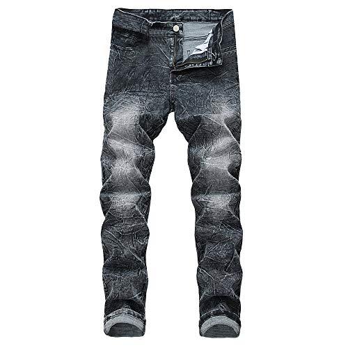 SANFASHION Herren Jeans Männer Casual Herbst Denim Baumwolle Hosen Look Slim Fit Denim Strech Jeanshose Atmungsaktiv Bequem Gerade Zerrissene Loch Hose