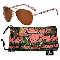 Hornz camuflaje del rosa polarizados gafas de aviador para las mujeres y que coinciden con bolsa de microfibra – Tamaño medio a grande de la cara - Marco rosado de Camo - ámbar lente