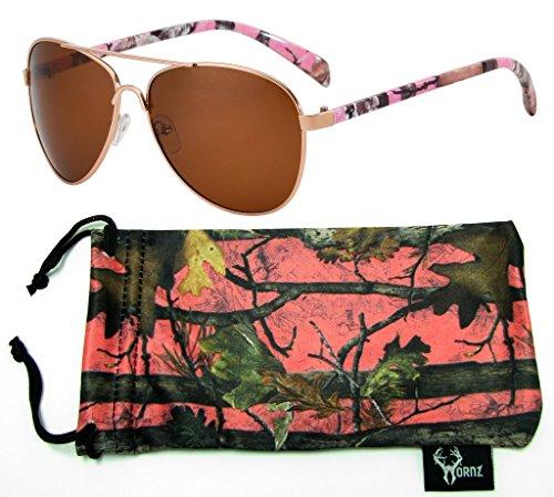 Hornz Rosa Camouflage polarisierte Pilotenbrillen für Frauen & freie passende Beutel aus Mikrofaser - Mittlere bis große Gesichts-Größe - Rosa Camo Rahmen - Bernstein Objektiv