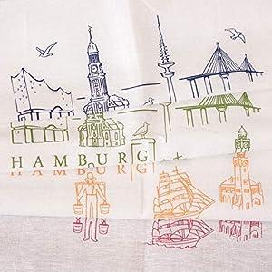 Handmade Designer Geschirrtuch – Hamburger Ensemble – 50×70 cm Halbleinen – Handsiebdruck aus eigenem Atelier
